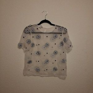 ASOS gorgeous gauzy mesh HOBBS floral shirt
